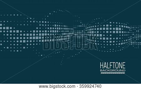 Abstract Vector Halftone Background Design With Texture Of Square Dots. Monochrome Printing Raster O