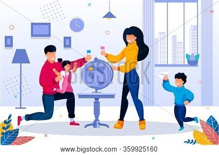Happy Smiling Family Planning Traveling. Parent With Children Choosing Country On Earth Globe. Fathe