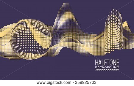 Abstract Vector Halftone Background Design With Texture Of Square Dots. Purple And Beige Printing Ra