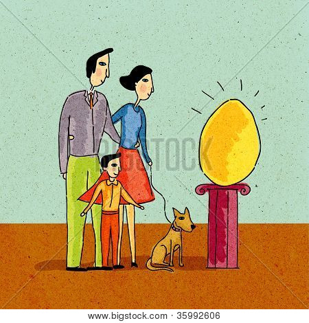 Family Looking At Giant Golden Egg On A Pedestal