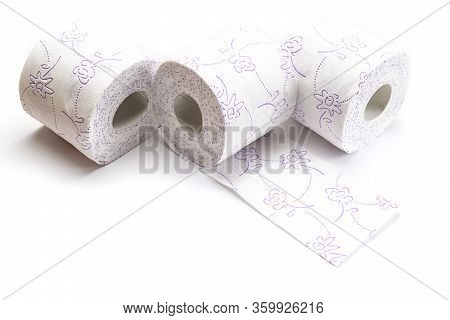 Paper Toilet Public Background. Soft Tissue Paper Roll Isolated On White. Storing Tissue Toilet Pape