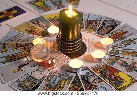 Bangkok, Thailand, March.15.20.wedding Rings Are On Tarot Cards.the Gypsy Lays Out Tarot Cards And G