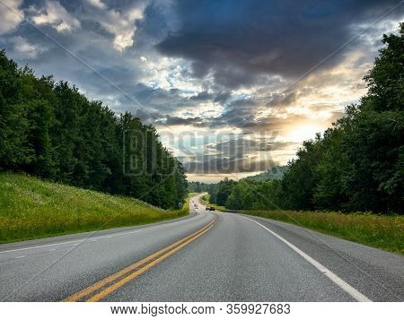 Open Highway In The Light Of The Sunset