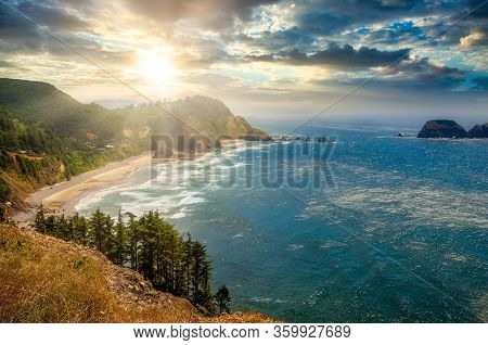Sunset Over The Cliff At The Beach