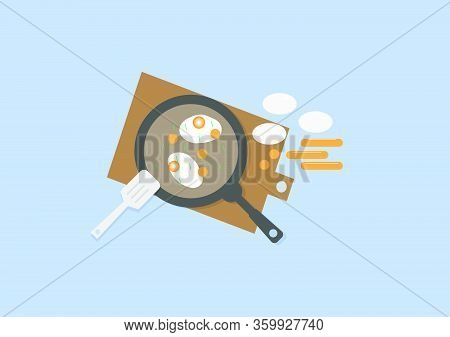 The Vector Illustration Of Fried Eggs, Vegetables And Sausage On The Frying Pan. The Sausage Cut Int