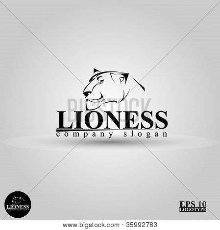 beautiful vector logo with a lioness head poster