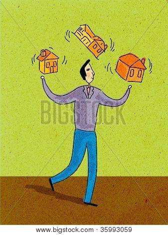 A Man Juggling Three Houses