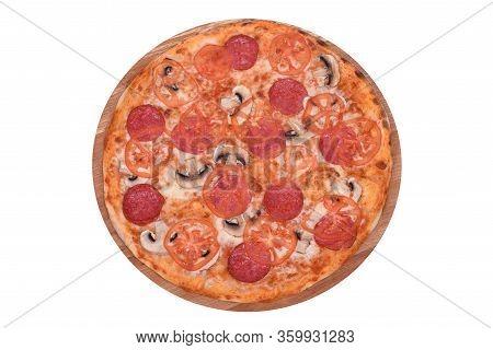 Pizza Neapolitano On A Wooden Platter. Isolated On White. Italian Pizza Neapolitano With Salami, Moz