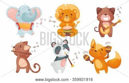 Cartoon Animals Playing Musical Instruments With Cat Fluting Vector Set