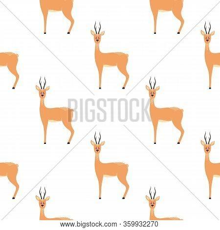 Seamless Pattern With Deer, Doe, Roe Deer. Vector Illustrations In The Scandinavian Style.