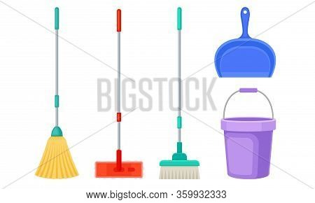 Cleaning Equipment With Bucket, Mop And Shovel Vector Set