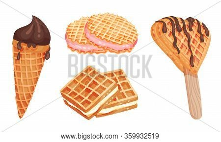 Waffle Or Wafer Desserts With Ice Cream And Gaufre Sticking Together Vector Set