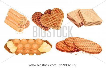 Rolled And Layered Waffle Or Wafer Desserts Vector Set