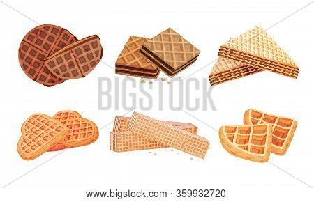 Layered Waffle Or Wafer Desserts With Textured Surface Vector Set