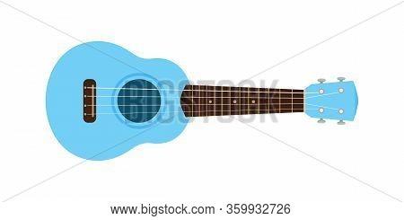Ukulele Cute Blue Pastel Isolated On White, Small Ukelele Blue Soft Color For Flat Icon, Realistic U