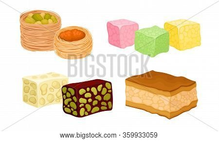 Oriental Sweets And Turkish Delights With Baklava And Rahat Lakoum Vector Set