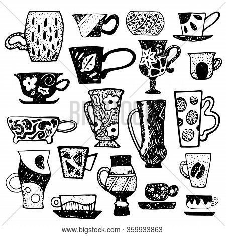 Rustic Tea Cup Set With Linocut Ornament. Teacup Vector Illustration Isolated. Cups Pattern For Coff