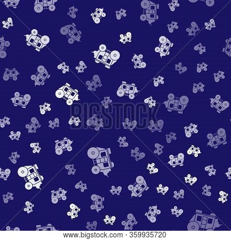 White Western Stagecoach Icon Isolated Seamless Pattern On Blue Background. Vector Illustration