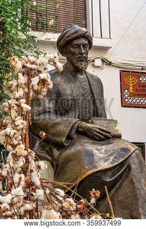 Cordoba, Spain - October 31, 2019: Statue Of Ben Maimonides At Tiberiades Square In Cordoba, Spain.