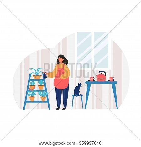 Woman Gardening Hobby. Woman Watering A Potted Plant In Pots. Home Garden Concept. Vector Illustrati