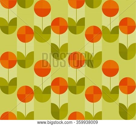 Spring Tulip In Modern Geometry Style. Floral Seamless Pattern For Background, Wrap, Fabric, Textile