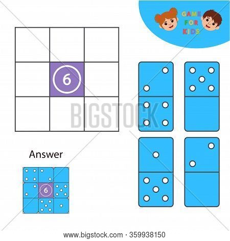 Math Game For Children. Dominoes. Learning Counting, Addition. Education Developing Worksheet. Vecto