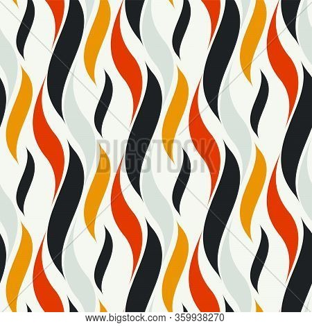 Seamless Hot Flame Wave Pattern. Vector Illustration