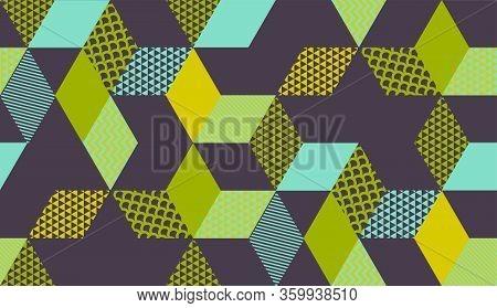 Square Cube Vintage Color Geometric Seamless Pattern