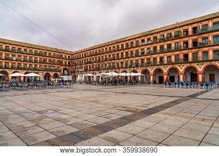 Cordoba, Spain - November 02, 2019: View Of Famous Corredera Square, Plaza De La Corredera In Cordob