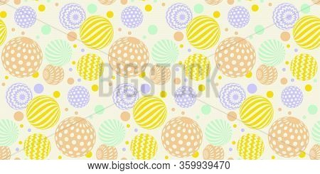 Pale Pastel Color Abstract Balls Seamless Pattern