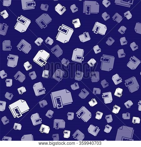 White Mp3 File Document. Download Mp3 Button Icon Isolated Seamless Pattern On Blue Background. Mp3