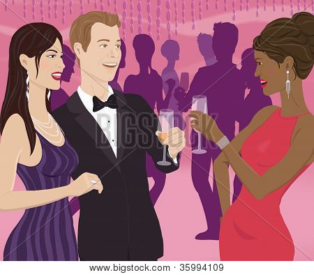 A Woman Toasting A Couple At A Party