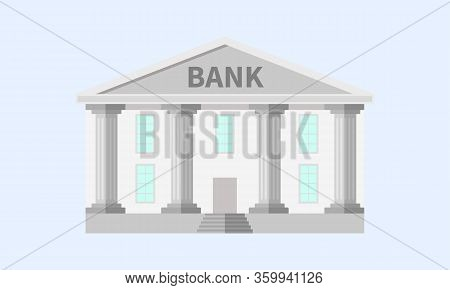 Bank Building Facade. Bank Isolated Vector Icon. Blue With Column. Classic Court Illustration. Flat