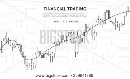 Forex Trade Chart On Electronic Devices Background Vector Illustration