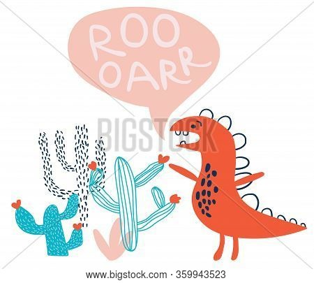 Childish Hand Drawn Dino With Blossom Cactuses In Scandinavian Style. Creative Vector Childish Illus