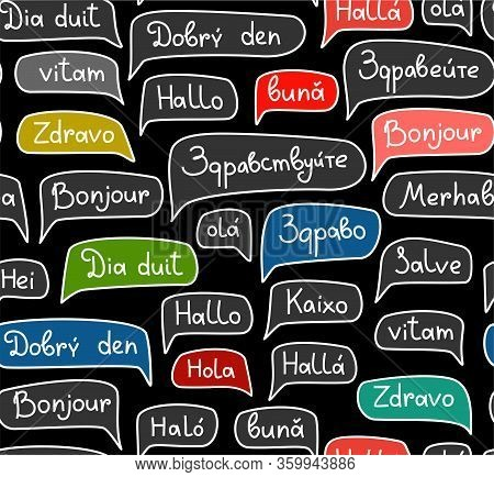 Hello, European Languages, Seamless Pattern, Contour Drawing, Black, Color, Vector. The Word