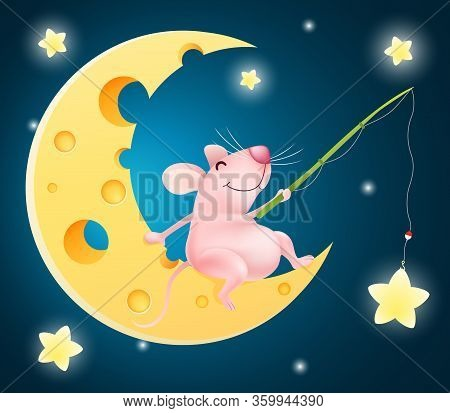 Funny Cartoon Fisherman Mouse Sitting On The Cheese Half Moon Catching Stars . Vector Illustration