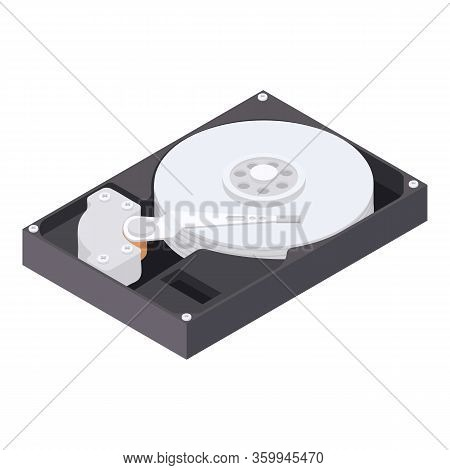 Hard Drive Icon. Isometric Of Hard Drive Vector Icon For Web Design Isolated On White Background
