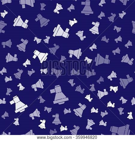 White Megaphone Icon Isolated Seamless Pattern On Blue Background. Loud Speach Alert Concept. Bullho