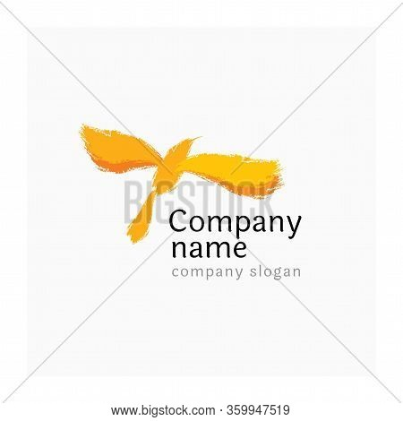 Yellow Bird Logo. Bright Logotype For Business Or Tourism Industry. Abstract Symbol For Company.  Li