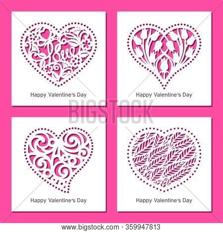 Set Of Decorative Greeting Vector Cards With Hearts, Flowers, Patterns. Design Element, Sample For P