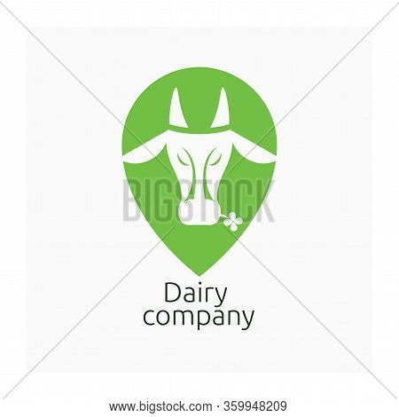 Dairy Company Logo. Cow Sign. Milk Logotype. Vector Logo With Farm Animal. Symbol For Cattle Or Live