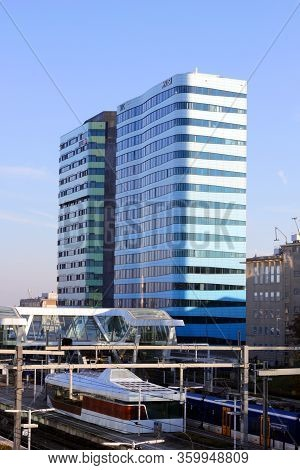 Arnhem, Netherlands - November 15, 2018: World Trade Center Wtc And Central Railway Station