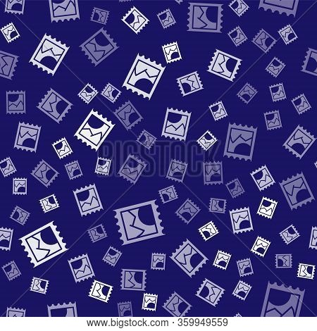 White Lsd Acid Mark Icon Isolated Seamless Pattern On Blue Background. Acid Narcotic. Postmark. Post