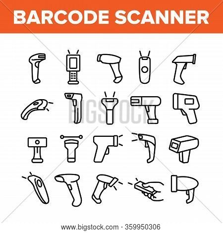 Barcode Scanner Device Collection Icons Set Vector. Scanner Electronic Equipment For Scanning And Re