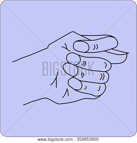 Fico Or Fig Gesture Drawn By Means Of Black Lines On The Purple Background