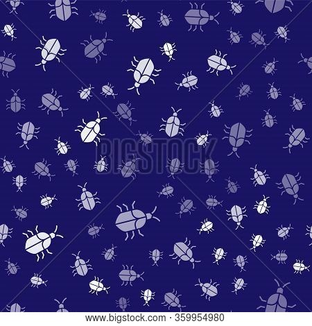 White System Bug Concept Icon Isolated Seamless Pattern On Blue Background. Code Bug Concept. Bug In