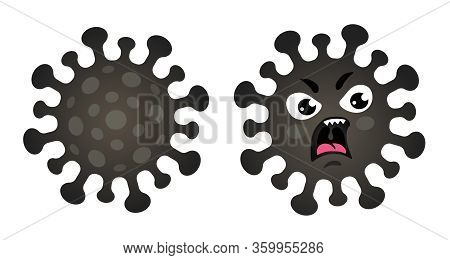 Vector Set Icons Of Coronavius. Vector Illustration Of Angry Coronavirus. Stop Coronavirus.