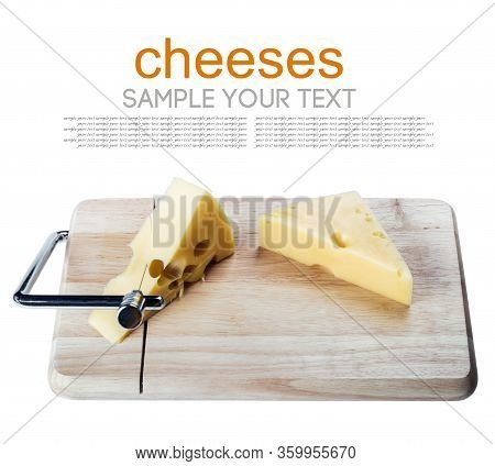 Maasdam Cheese Is Cut Into Slices Isolated On A White