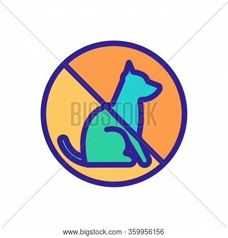 It Is Impossible With Animals Icon Vector. It Is Impossible With Animals Sign. Color Contour Symbol